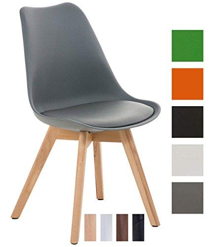 CLP Esszimmerstuhl Borneo mit Kunststoffsitzschale und Kunstlederbezug I Polsterstuhl mit Holzgestell und Einer Sitzhöhe von: 47 cm I in Verschiedenen Farben erhältlich
