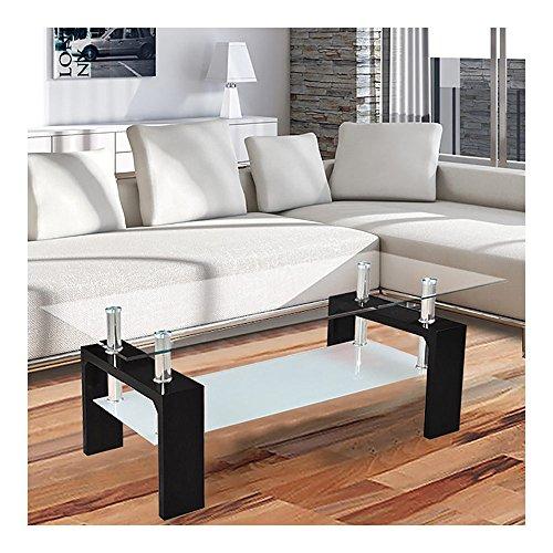 Corium Couchtisch - Wohnzimmertisch (100 x 50 x 58 cm) (Glassplatte) (Weiss Oder Schwarz) Tisch/Glastisch/Beistelltisch/Wohnzimmer/Hochglanz