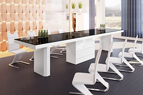 Design Esstisch HE-444 Schwarz / Weiß Hochglanz ausziehbar 160 / 223 / 286 / 349 / 412 cm