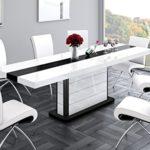 Design Esstisch HE-555 Weiß - Schwarz Hochglanz ausziehbar 160 / 210 / 260 cm