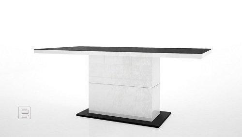 Design Hochglanz Esstisch weiss & schwarz Esszimmertisch 180-230 cm Tisch
