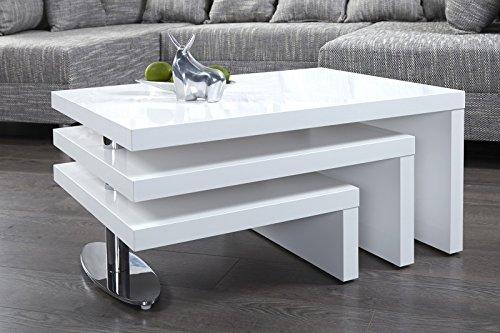 DuNord Design Couchtisch Sofatisch HIGHLEVEL weiss Hochglanz Design Lounge Ebenen Tisch