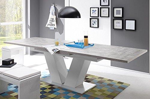 Esstisch ausziehbar Komfort-Tisch 180-280 Beton Weiss/ Edelstahloptik