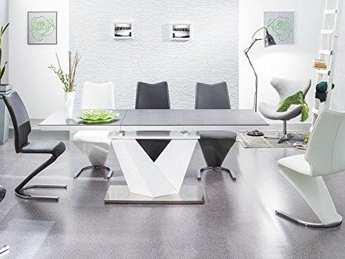 Esszimmertisch 'Alaras II' Säulentisch 90x220 Schwarz /Weiß Hochglanz Weiß ausziehbar