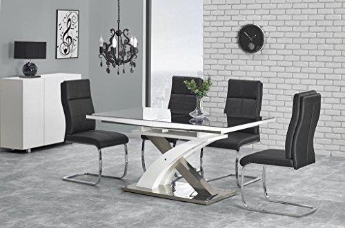 Exklusiver Esstisch Edelstahl hochglanz weiß Glastisch Küchentisch Wohnzimmertisch Glas schwarz weiß grau Modern ausziehbar