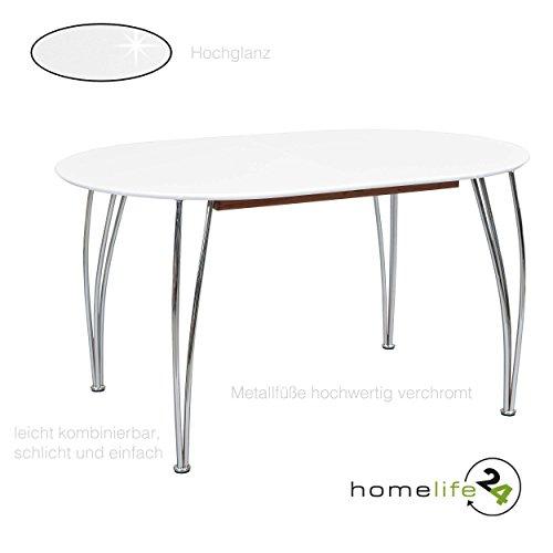 H24living Esstisch ausziehbar Küchentisch Tisch Esszimmer Küche weiß chrom rund 140-180 cm
