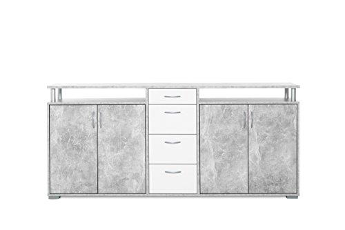 Kommode, Sideboard, Anrichte, Highboard, Schrank, Flurkommode, Schlafzimmerkommode, weiß, weiss, Strukturbeton, 4-türig, Maße: B/H/T ca. 200/94/41 cm