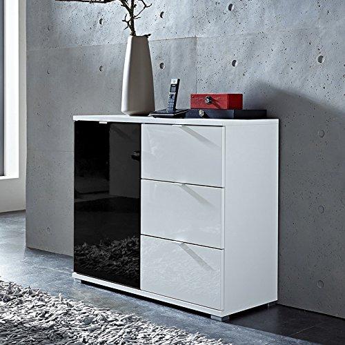 Kommode Sideboard in Hochglanz weiß schwarz mit 1 Tür und 3 Schubkästen ● B x H x T: ca. 96 x 87 x 40 cm ● Made in Germany