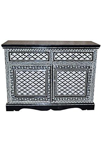 Orientalische Kommode Sideboard Schwarz Weiß oder bunt | Orient Vintage Kommodenschrank orientalisch handbemalt | Indische Landhaus Anrichte aus Holz massiv | Asiatische Möbel aus Indien
