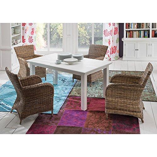 Pharao24 Essgruppe mit Korbstühlen ausziehbarem Tisch (5-teilig)