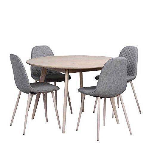 Pharao24 Essgruppe mit Rundem Tisch Eiche Grau (5-teilig)