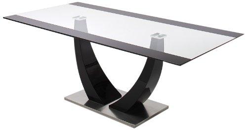 Robas Lund Tisch, Esszimmertisch, Säulentisch, Tavolo, Edelstahl/schwarz, 200 x 76 x 100 cm, 0820HSGS