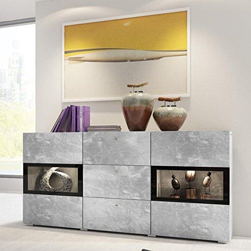 Selsey Baros - Sideboard/Kommode Hochglanz mit LED RGB und Farbwechselfunktion 132 cm