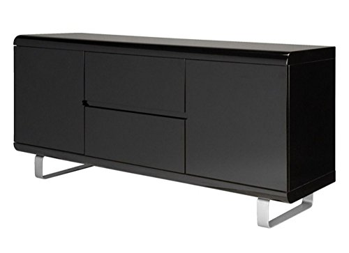 Sideboard Spacy hochglanz schwarz Kommode Schubladen Schrank Highboard