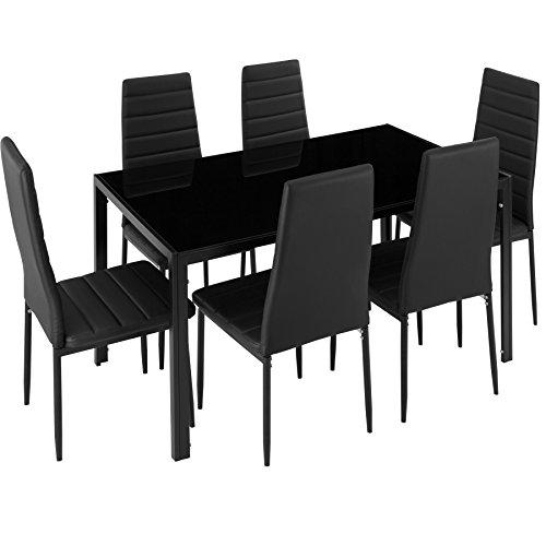 TecTake Esszimmergruppe mit Esstisch und 6 Essstühlen | Strapazierfähiges Kunstleder | Robuste Tischplatte aus Sicherheitsglas - diverse Farben