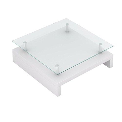vidaXL Salontisch mit Glasplatte Couchtisch Kaffeetisch Tisch Hochglanz Weiß