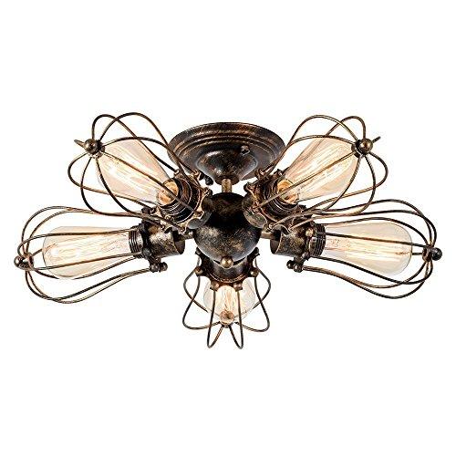 Deckenleuchte Retro Metall Deckenleuchte Antik Retro Lampe für Landhaus Schlafzimmer Wohnzimmer Esstisch (5L Gemälde von Öl gerieben Bronze)