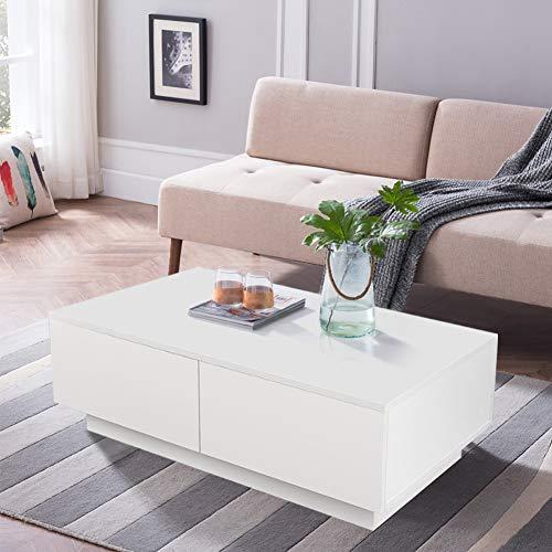 Couchtisch Wohnzimmertisch Hochglanz Weiß mit 4 Schubladen Modern Design Sofatisch Kaffeetisch Tisch Holz für Wohnzimmer Büro Wohnzimmermöbel 95 x 60 x 31 cm