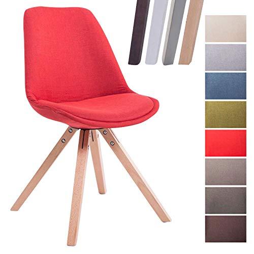 CLP Retro-Stuhl Toulouse Square Mit Stoffbezug Und Hochwertigem Sitzpolster I Lehnstuhl Mit Stabilem Holzgestell I Sitzhöhe 48 cm