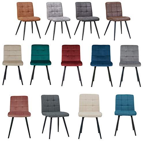 Duhome Esszimmerstuhl aus Stoff Samt Farbauswahl Stuhl Retro Design Polsterstuhl mit Rückenlehne Metallbeine 8043B