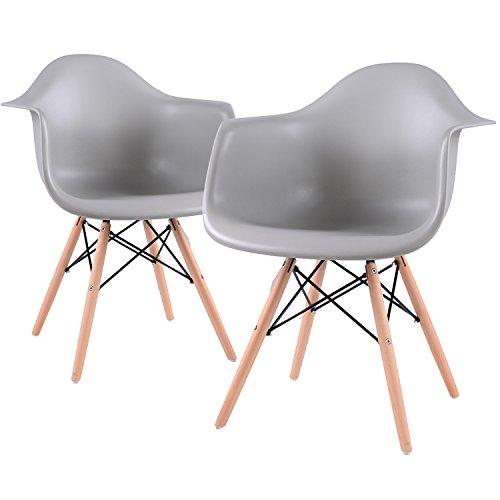 EGGREE Lot von 6 Esszimmerstuhl, Retro Stuhl Beistelltisch mit solide Buchenholz Bein