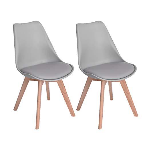 EGGREE Skandinavien Esszimmerstühle mit Massivholz Buche Bein, Retro Design Gepolsterter Stuhl Küchenstuhl Holz