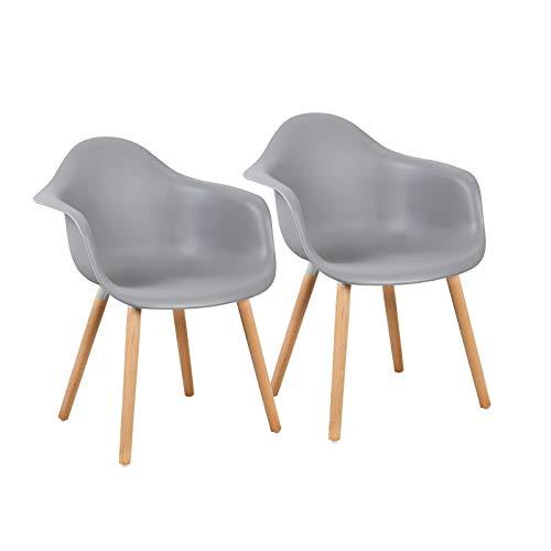 LLIVEKIT Esszimmerstühle mit Massivholz Buche Bein,Esszimmerstuhl mit Bequem Gepolstertem Sitz