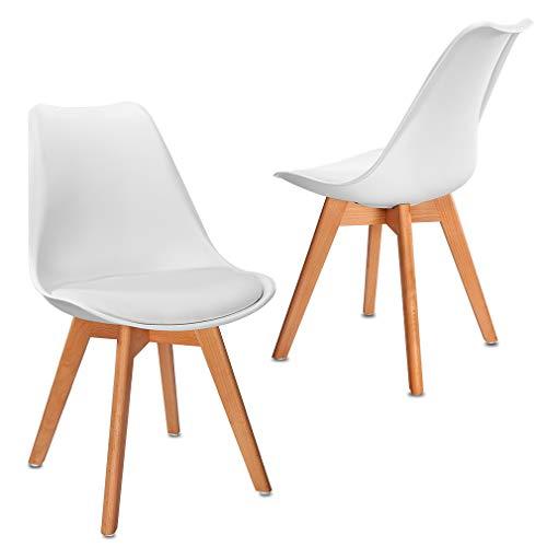 VADIM Esszimmerstühle 2er Set aus gepolstertem Kunsterleder und Kunststoff, Skandinavischer Küchenstuhl Polsterstuhl mit Holzbeine, Retro Stühle für Esszimmer Küche Lounge