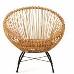 animal-design Rattanstuhl SANTIKA Korb-Stuhl oval Retro Vintage Sessel Lounge Esszimmer Küche Bistro Balkon Terrasse