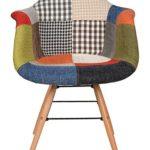 ts-ideen 1 x Design Klassiker Patchwork Sessel Retro 50er Jahre Barstuhl Wohnzimmer Küchen Stuhl Esszimmer Sitz Holz Metall bunt