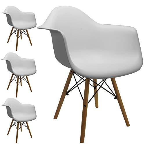 Cepewa Retro Designer Stühle | 4er Set | weiße Sitzschale | Holzbeine Natur | sehr stabil |