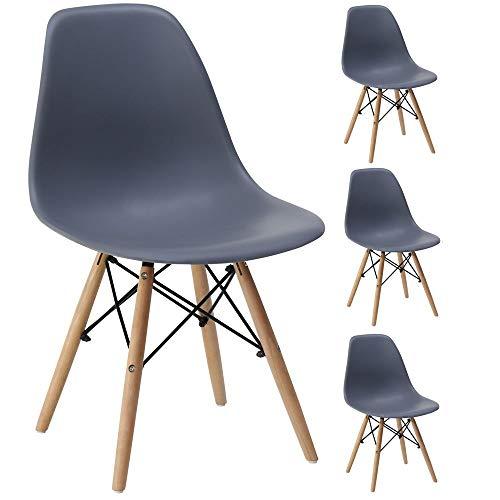 Gr8 Home 4 Retro Inspiriert Sessel Set Plastik Holz Modern Büro Esszimmer Wohnzimmer Tisch Lounge Panton Eiffel Seat