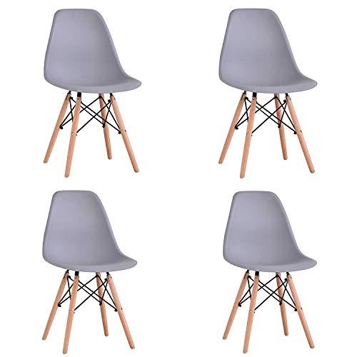 WV LeisureMaster Satz von 4 Esszimmerstühlen Eiffel Dining Bedroom Kitchen Retro Kunststoffsitz und Holzbeinen