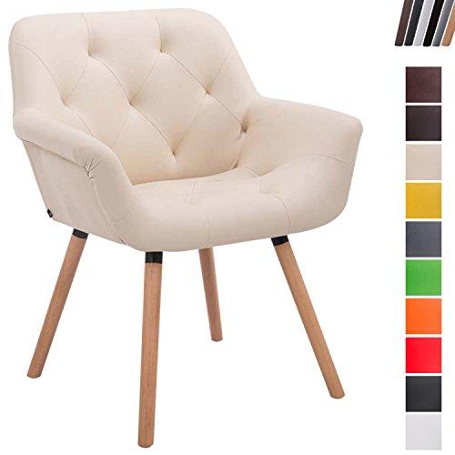Esszimmerstuhl Cassidy mit Kunstlederbezug und sesselförmigem Sitz I Retrostuhl mit Armlehne, Farbe:Creme, Gestell Farbe:Natura