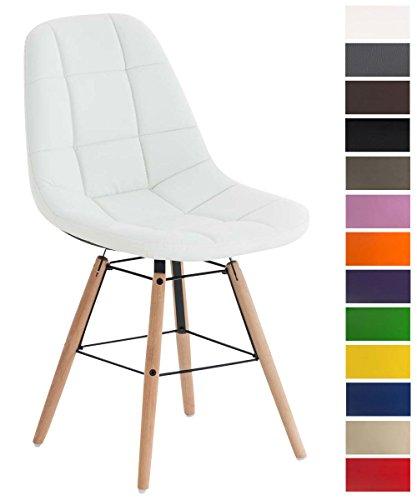 Esszimmerstuhl Tammy mit Kunstlederbezug | Lehnstuhl mit Buchenholzgestell | Polsterstuhl | Sitzhöhe: 47 cm, Farbe:weiß