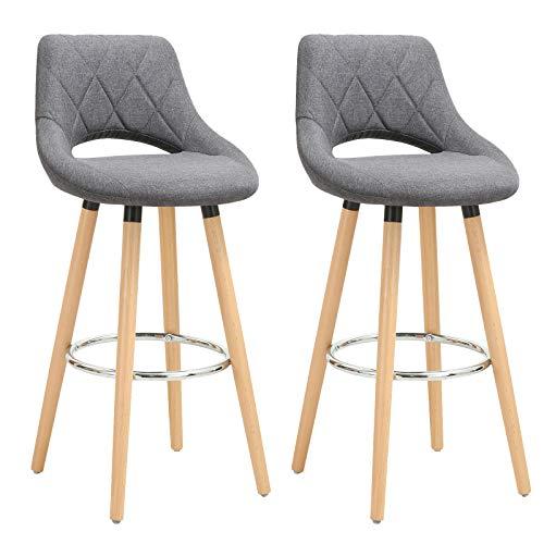 WOLTU® Barhocker BH111dgr-2 2er Set Barstuhl Bistrohocker Tresenhocker mit Lehne und Fußstütze Design Stuhl Holz Leinen Dunkelgrau
