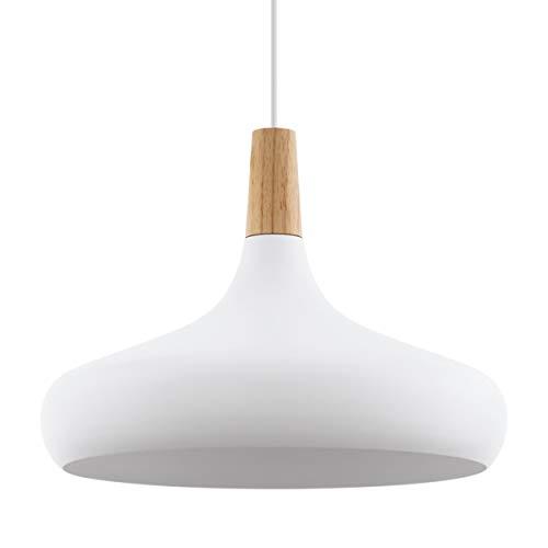 EGLO Pendellampe Sabinar, 1 flammige Pendelleuchte, Hängelampe aus Stahl und Holz, Farbe: Weiß, braun, Fassung: E27, Ø: 40 cm