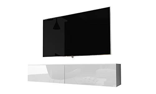 Kane – Fernsehschrank/Tv-Lowboard Hängend In Weiß Hochglanz 140Cm