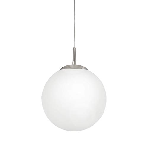 EGLO Pendellampe Rondo, 1 flammige Pendelleuchte, Hängeleuchte aus Stahl, Farbe: Nickel matt, Glas: Opal matt weiß, Fassung: E27, Ø: 25 cm