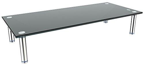 RICOO FS7828-B, TV Board, Tisch-Aufsatz, Glas Schwarz, 78x28x10 cm, Bildschirm-Erhöhung, Hi-Fi Rack, Regal, Bildschirm-Ständer, Podest