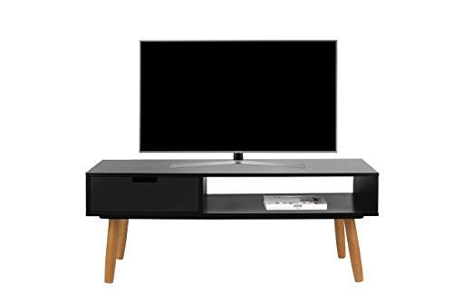 LIFA LIVING Fernsehtisch Lowboard Schwarz mit Schublade, Vintage TV Schrank TV Board Holz, Couchtisch Wohnzimmertisch für Flachbildschirm Fernseher Konsole, 40x100x40