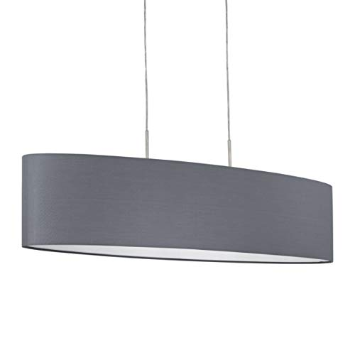 EGLO Pendellampe Pasteri, 2 flammige Textil Pendelleuchte, Hängeleuchte oval aus Stahl und Stoff, Farbe: Nickel matt, grau, Fassung: E27, L: 100 cm