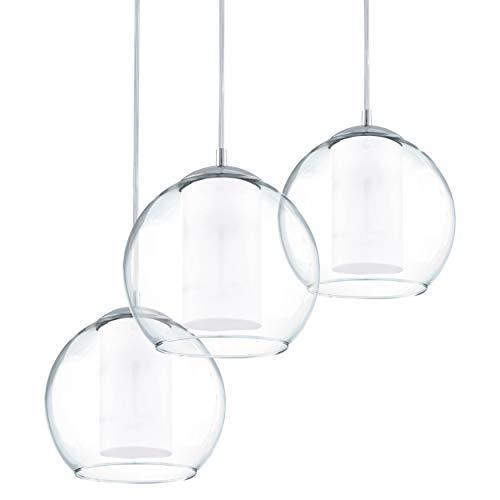 EGLO Pendelleuchte Bolsano, 3 flammige Hängelampe, Hängeleuchte aus Stahl und Glas in chrom, weiß, Klar, Esstischlampe, Wohnzimmerlampe hängend mit E27 Fassung