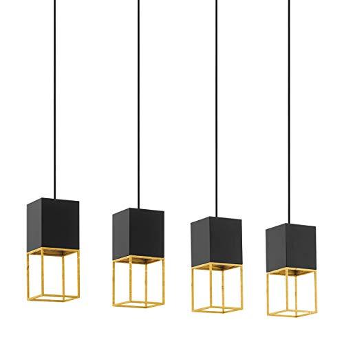 EGLO Pendelleuchte Montebaldo, 4 flammige Hängelampe Vintage, Industrial, Hängeleuchte aus Stahl in schwarz, gold, Esstischlampe, Wohnzimmerlampe hängend mit GU10 Fassung