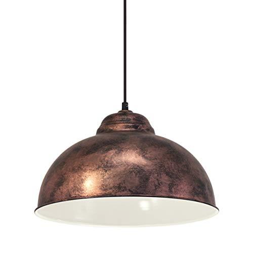 EGLO Pendellampe Truro 2, 1 flammige Vintage Pendelleuchte im Industrial Design, Retro Hängelampe aus Stahl, Farbe: Kupferfarben-antik, Fassung: E27