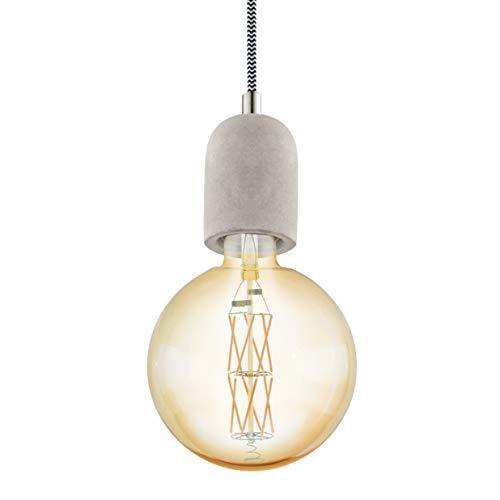 EGLO Pendelleuchte Yorth, 1 flammige Schnurpendel Hängelampe Vintage, Industrial, Hängeleuchte aus Stahl in Grau, Kabel in Schwarz-Weiß, Esstischlampe, Wohnzimmerlampe hängend mit E27 Fassung