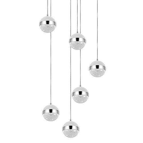 EGLO Pendelleuchte Licoroto, 6 flammige Hängelampe Modern, Elegant, Hängeleuchte aus Stahl, Glas und Granille in Chrom, Satiniert, weiß , Klar, Esstischlampe, Wohnzimmerlampe hängend mit G9 Fassung