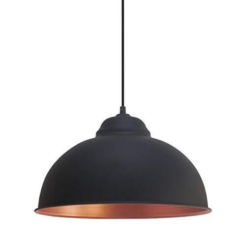 EGLO Pendellampe Truro 2, 1 flammige Vintage Pendelleuchte im Industrial Design, Retro Hängelampe aus Stahl, Farbe: schwarz, kupfer, Fassung: E27