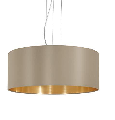 EGLO Pendellampe Maserlo, 3 flammige Textil Pendelleuchte, Hängeleuchte aus Stahl und Stoff, Farbe: Nickel matt, taupe, gold, Fassung: E27, Ø: 53 cm
