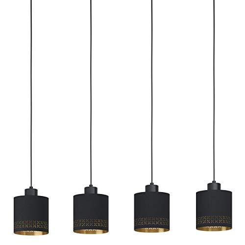 EGLO Pendelleuchte Esteperra, 4 flammige Hängelampe Vintage, Retro, Hängeleuchte aus Stahl und Textil in Schwarz, Gold, Esstischlampe, Wohnzimmerlampe hängend mit E27 Fassung, L 94 cm